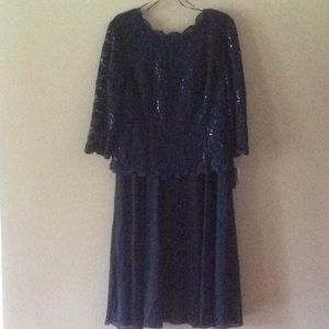 Deep Blue Sequined Lace and Chiffon dress